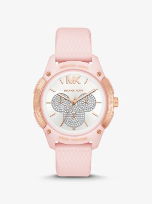 마이클 코어스 여성 시계 Michael Kors Ryder Embossed Silicone and Rose Gold-Tone Watch,PINK