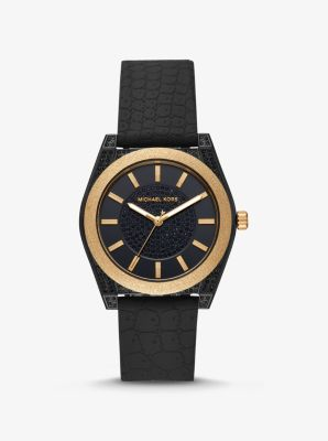마이클 코어스 손목시계 Michael Kors Channing Snake-Embossed Silicone and Gold-Tone Watch,BLACK
