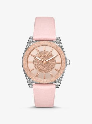 마이클 코어스 손목시계 Michael Kors Channing Snake-Embossed Silicone and Rose Gold-Tone Watch,PINK
