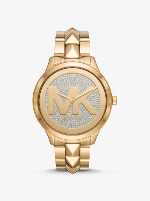 Michael Kors Oversized Runway Mercer Gold-Tone Pave Logo Watch,GOLD