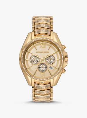 Michael Kors Oversized Whitney Pave Gold-Tone Watch,GOLD