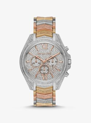 Michael Kors Oversized Whitney Pave Tri-Tone Watch,TRI TONE