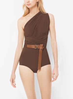 One-Shoulder Shirred Maillot by Michael Kors