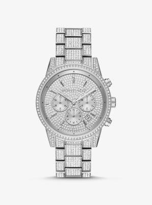 Michael Kors Ritz Pave Silver-Tone Watch,SILVER