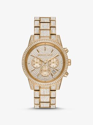 Michael Kors Ritz Pave Gold-Tone Watch,GOLD