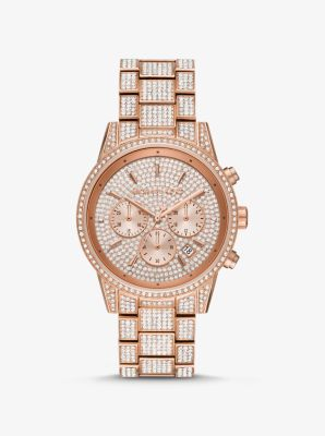 Michael Kors Ritz Pave Rose Gold-Tone Watch,ROSE GOLD