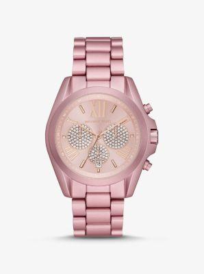 Michael Kors Oversized Bradshaw Pave Pink-Tone Aluminum Watch,PINK