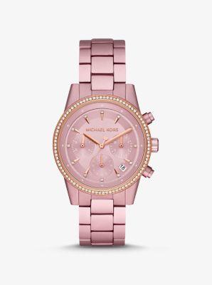 Michael Kors Ritz Pave Pink-Tone Aluminum Watch,PINK