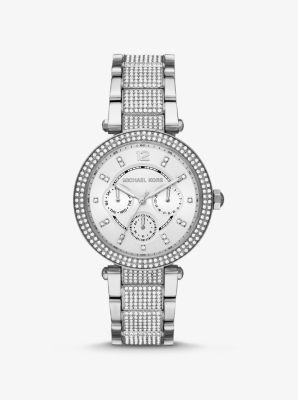 Michael Kors Oversized Parker Pave Silver-Tone Watch,SILVER