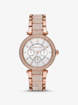 Michael Kors Oversized Parker Pave Rose Gold-Tone Watch,ROSE GOLD