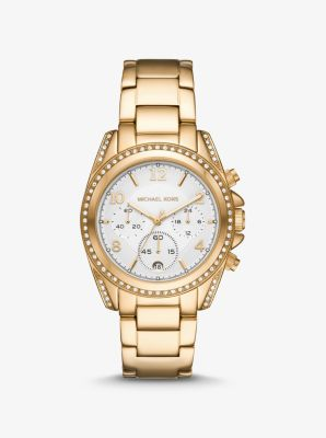 Michael Kors Oversized Blair Pave Gold-Tone Watch,GOLD