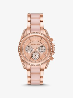 Michael Kors Oversized Blair Pave Rose Gold-Tone and Acetate Watch,ROSE GOLD