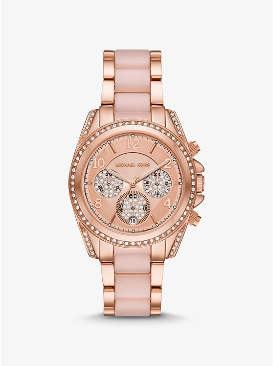 Oversized Blair Pavé Rose Gold-Tone and Acetate Watch  | Michael Kors
