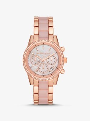 Michael Kors Ritz Rose Gold-Tone and Acetate Watch,ROSE GOLD