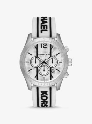 마이클 코어스 여성 시계 Michael Kors Oversized Layton Silver-Tone and Embossed Silicone Watch,WHITE