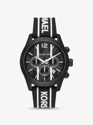 마이클 코어스 여성 시계 Michael Kors Oversized Layton Black-Tone and Embossed Silicone Watch,BLACK