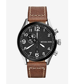 Hangar Leather-Strap Silver-Tone Stainless Steel Watch