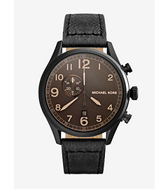 Hangar Leather-Strap Black Stainless Steel Watch