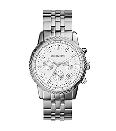Oversized Ritz Silver-Tone Stainless Steel Watch