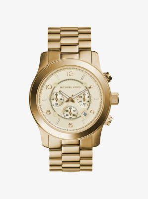 Michael Kors Oversized Runway Gold-Tone Stainless Steel Watch,GOLD