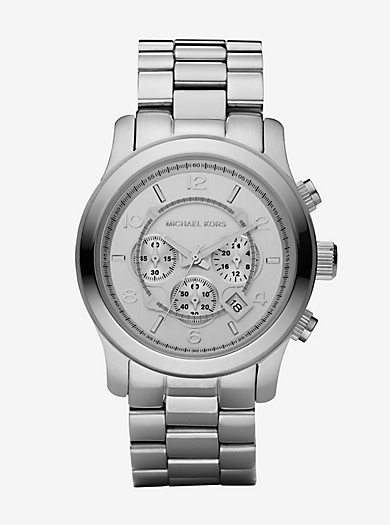 Runway Oversized Silver-Tone Stainless Steel Watch by Michael Kors