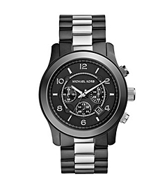 Runway Silver-Tone and Black Stainless Steel Watch