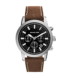 Scout Silver-Tone Stainless Steel and Leather Watch