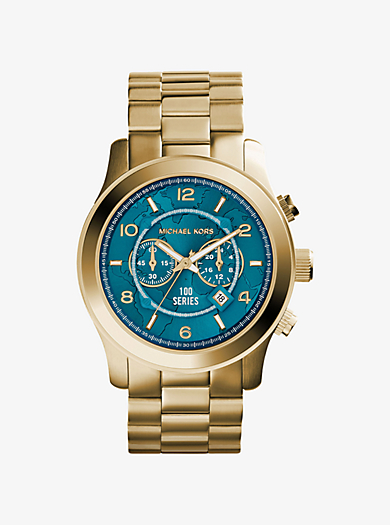 Watch Hunger Stop Oversized Runway Gold-Tone Stainless Steel Watch by Michael Kors