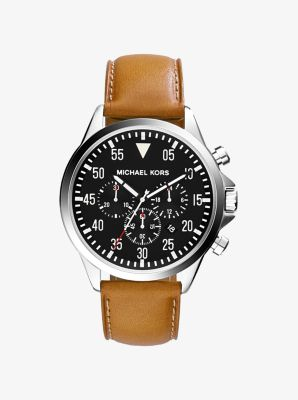Gage Silver-Tone Leather Watch by Michael Kors