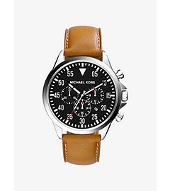 Gage Silver-Tone Stainless Steel and Leather Watch