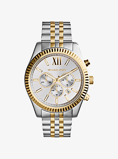 Lexington Silver and Gold-Tone Watch by Michael Kors
