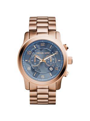 Michael Kors Watch Hunger Stop Oversized Runway Rose Gold-Tone Watch,ROSE GOLD