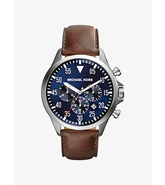 Gage Leather-Strap Silver-Tone Stainless Steel Watch