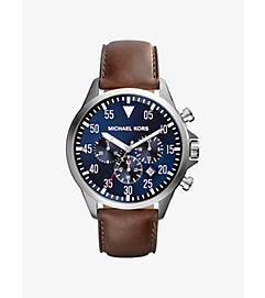 Gage Leather-Strap Silver-Tone Stainless Steel Watch by Michael Kors