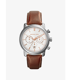 Pennant Leather Strap Silver-Tone Stainless Steel Leather Watch