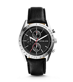 Accelerator Silver-Tone Stainless Steel and Leather Watch