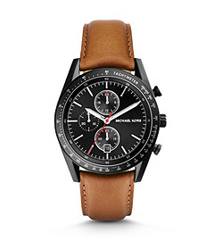 Accelerator Black-Tone Stainless Steel and Leather Watch