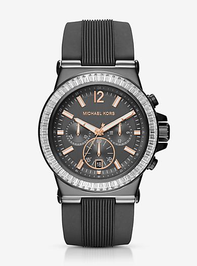 Dylan Pavé Gunmetal Silicone Watch by Michael Kors