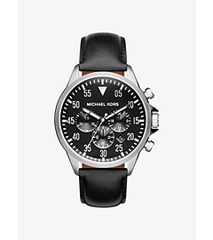 Gage Silver-Tone and Leather Watch by Michael Kors