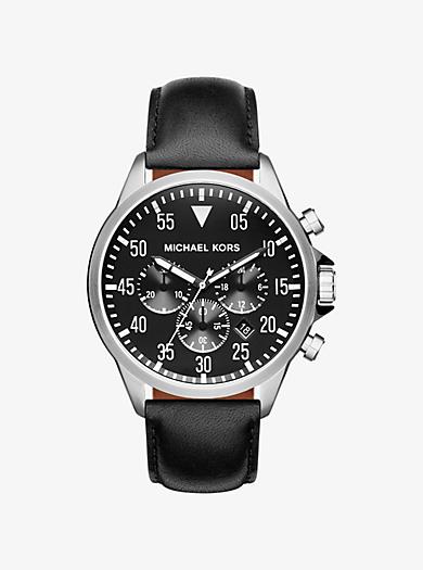 Armbanduhr Gage im Silberton mit Lederarmband by Michael Kors
