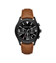 Gareth Black-Tone and Leather Watch by Michael Kors