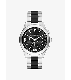 Gareth Silver-Tone and Silicone Watch by Michael Kors