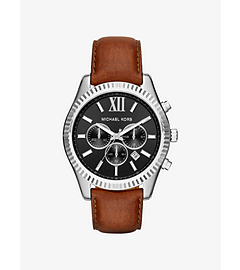 Lexington Silver-Tone and Leather Watch by Michael Kors