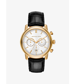 Pennant Gold-Tone and Leather Watch by Michael Kors