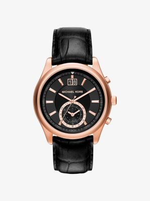Aiden Rose Gold-Tone and Leather Watch by Michael Kors