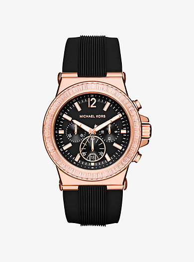 Dylan Oversize Rose Gold-Tone and Silicone Watch by Michael Kors