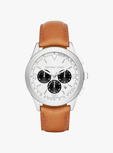 Gareth Silver-Tone Leather-Band Watch by Michael Kors