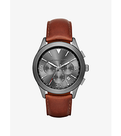 Gareth Gunmetal-Tone Leather-Band Watch by Michael Kors