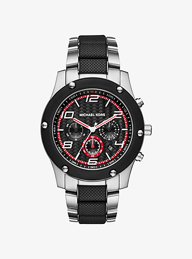 Caine Silver and Black-Tone Watch by Michael Kors