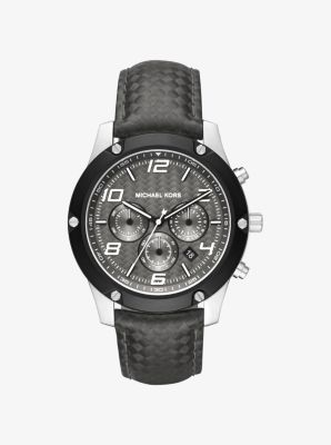 Caine Silver-Tone and Silicone Watch by Michael Kors
